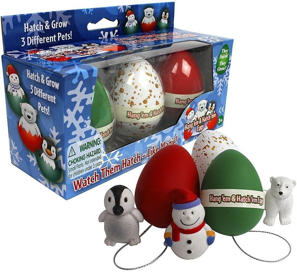 SCS Direct Super Grow Eggs Holiday Pets Snowman /& Polar Bear Christmas Ornament Hatching Eggs 3 Pets: Penguin