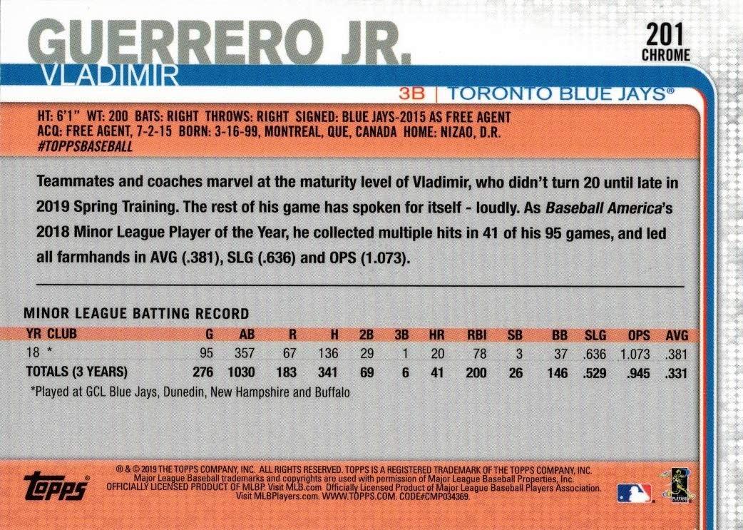 2019 Topps Chrome Prism Refractor Baseball #201 Vladimir Guerrero Jr Rookie Card