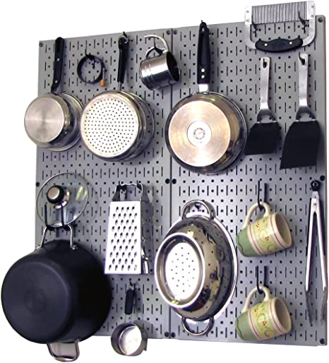 Amazon Com Wall Control Kitchen Pegboard Organizer Pots And Pans Pegboard Pack Storage And Organization Kit With Grey Pegboard And Black Accessories Furniture Decor