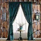 Melodieux Blackout Velvet Curtains Rod Pocket Drapes Dark Green Thermal Insulated Windows Drapes with Pompoms for Bedroom 1 Panel (W140 x L260cm, Dark Green)