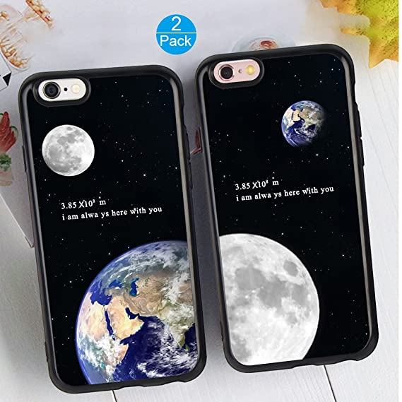 amazon com iphone 6 6s plus 2x case earth\u0026moon design lovers coupleimage unavailable image not available for color iphone 6 6s plus