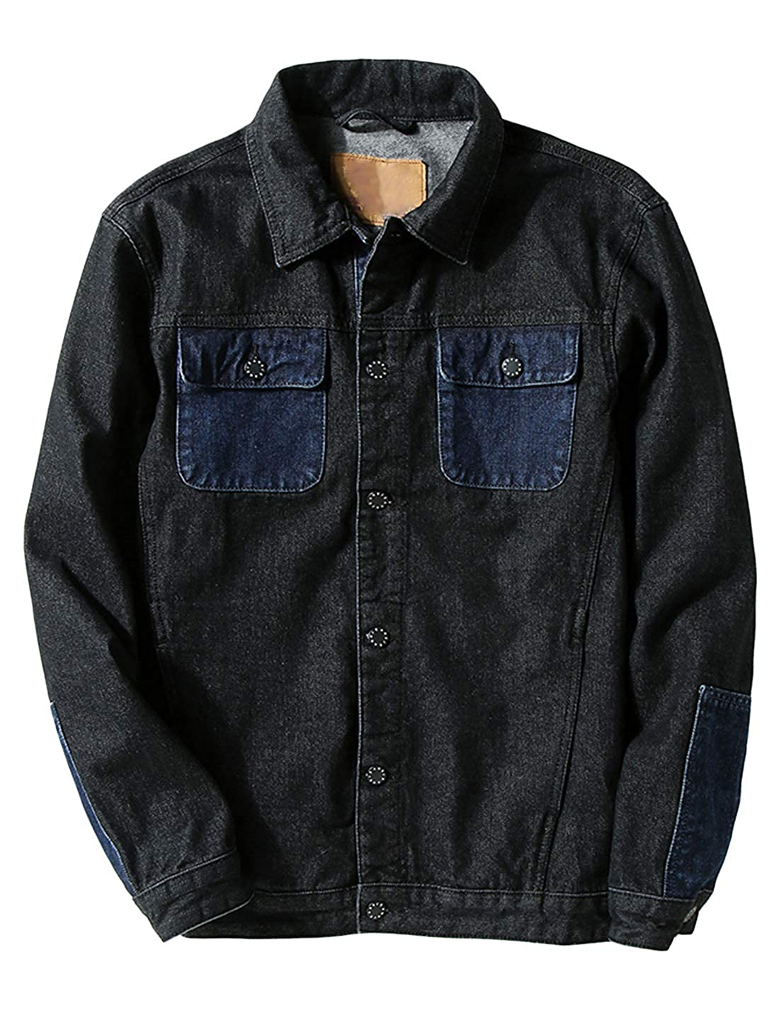 Lentta Mens Vintage Loose Color Block Button Up Denim Trucker Jacket