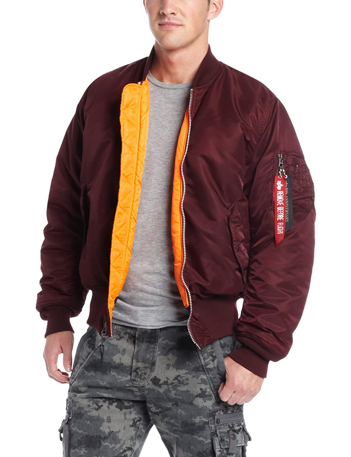 0335e1691d9fe Amazon.com  Alpha Industries Men s MA-1 Flight Bomber Jacket  Clothing