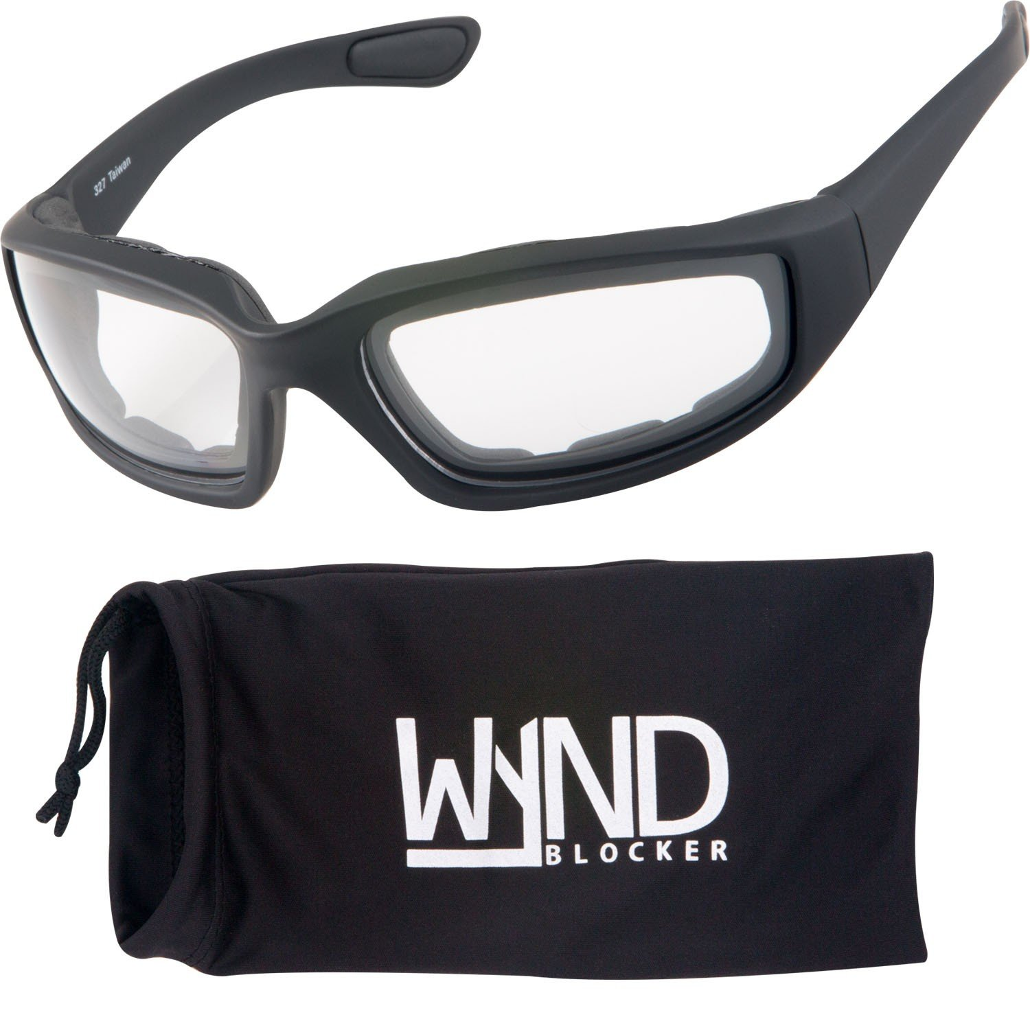 0d9f006e7f8 Amazon.com  WYND Blocker Motorcycle   Biking Wind Resistant Sports Wrap  Sunglasses (Black Clear Lens)  Clothing