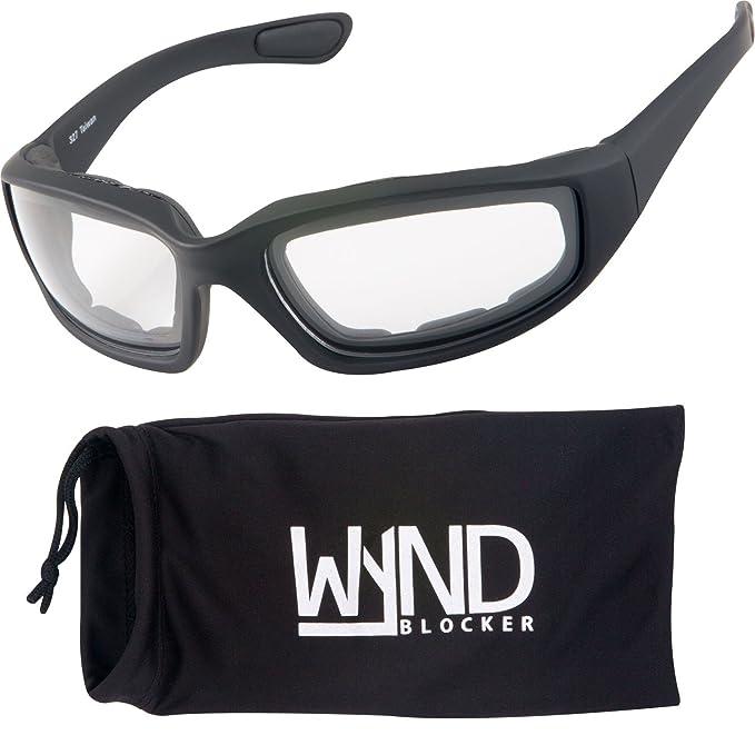 9d821f8d527 WYND Blocker Motorcycle   Biking Wind Resistant Sports Wrap Sunglasses  (Black Clear Lens)