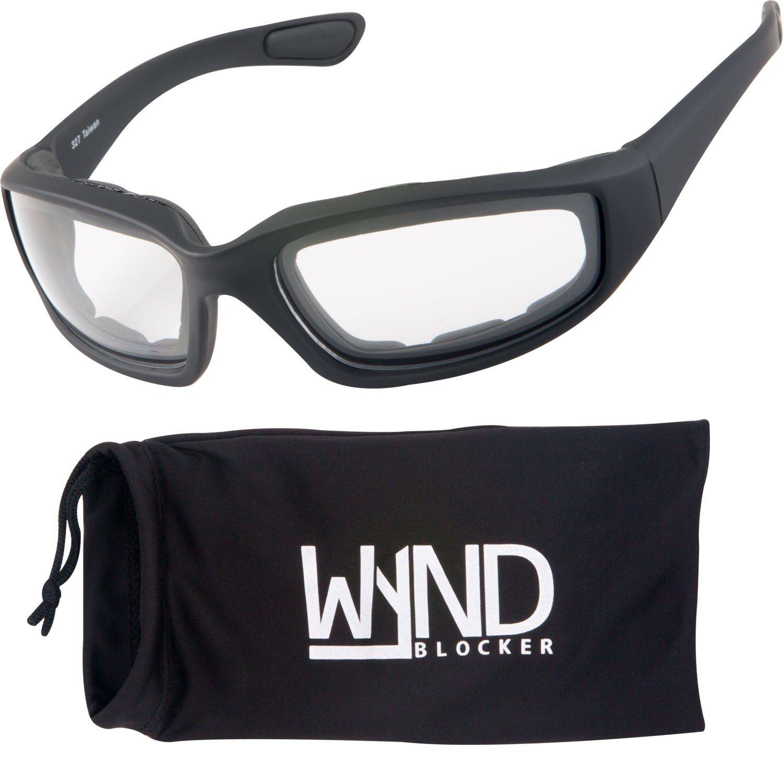 WYND Blocker Motorcycle & Biking Wind Resistant Sports Wrap Sunglasses (Black / Clear Lens)