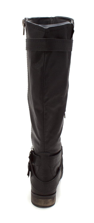 Rampage Women's B0786PHH3S Hansel Zipper and Buckle Knee-High Riding Boot B0786PHH3S Women's 6.5 B(M) US|Black 8beab7