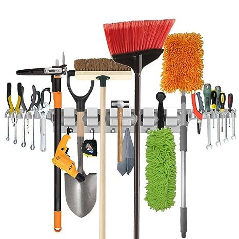 Porte-outils à usage professionnel, porte-outils pour maison, jardin,  garage, accrocheur de rangement et d\'organisation avec 6 positions, 6  crochets ...
