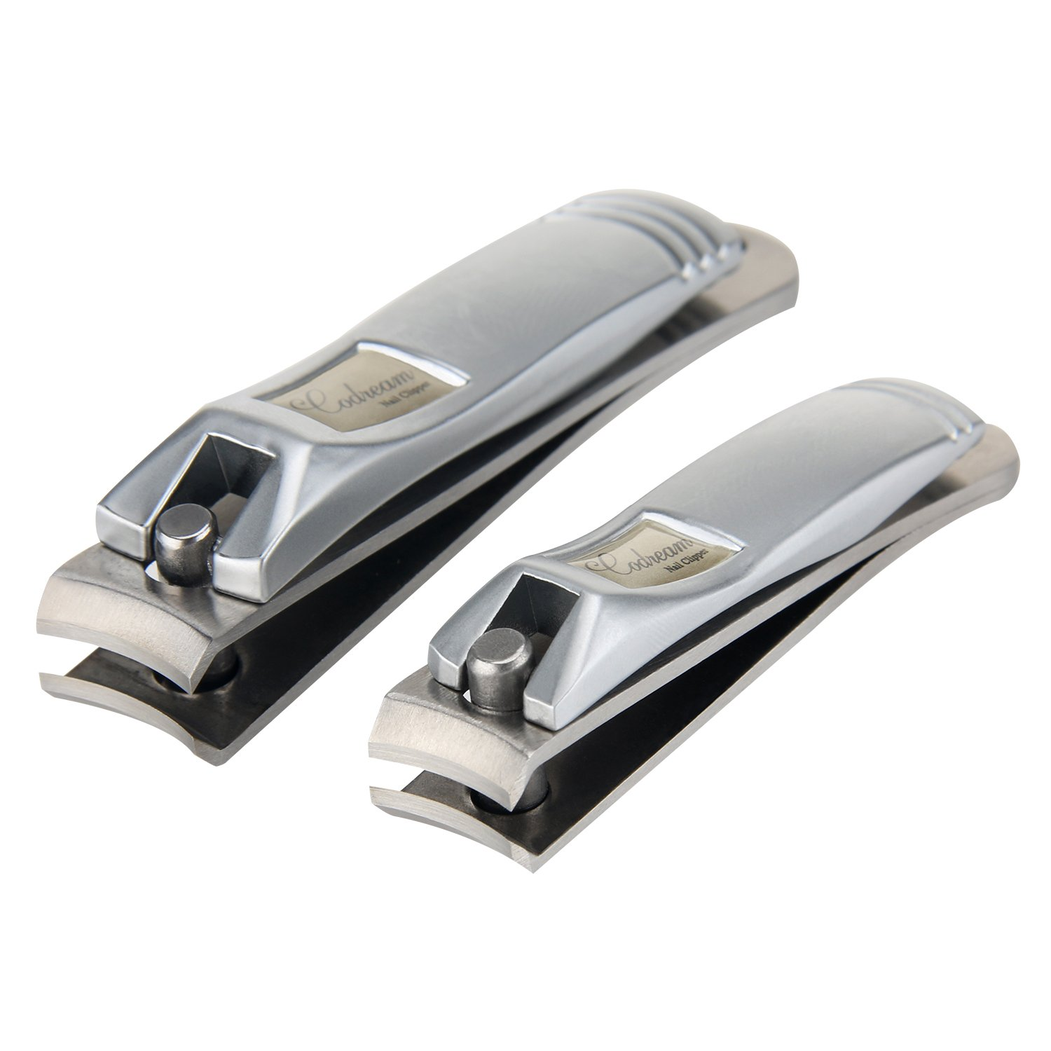 Promama 2in1 High-grade Stainless Steel Nail Clipper Set Sharpest Curved Blade for Fingernail and Toenail for Women Men (Silver)