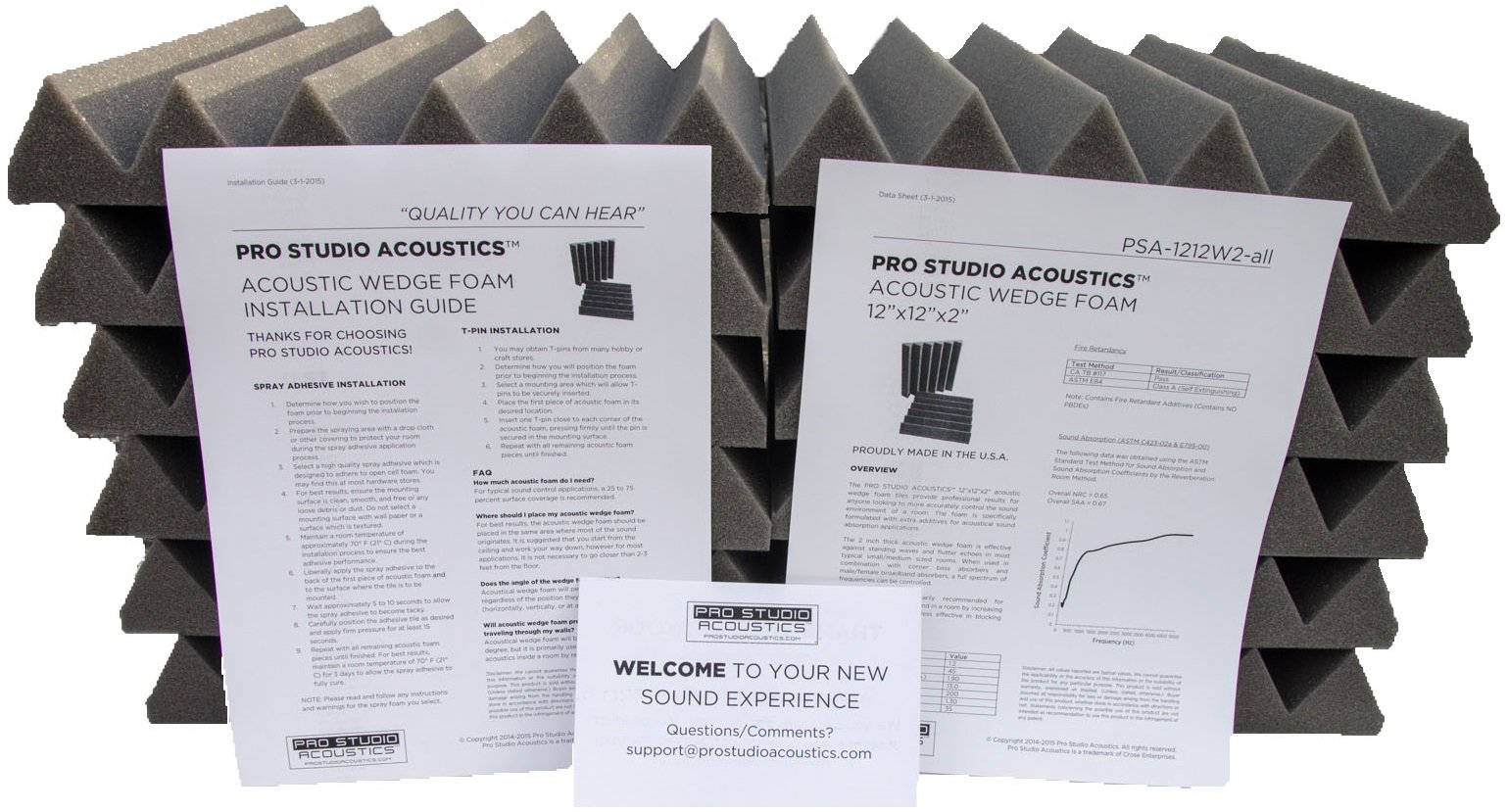 Pro Studio Acoustics - 12''x12''x2'' Acoustic Wedge Foam Absorption Soundproofing Tiles - Charcoal - 12 Pack