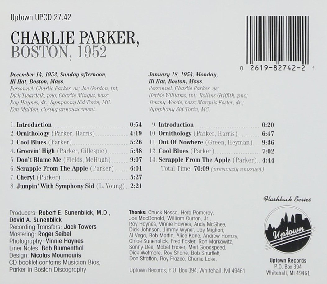 CHARLIE PARKER - Boston 1952 - Amazon.com Music