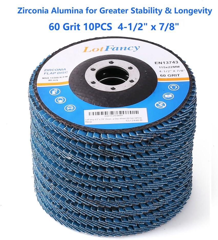 4 1//2 5//8 Arbor Z3-100/% Zirconia 13,300 RPM XL 114 Pack T27 Flap Discs 40 Grit