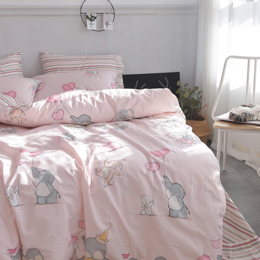 OTOB Queen Full Elephant Rabbit Print Duvet Cover Sets for Kids Teens Pink 100% Cotton Reversible Soft 3 Pieces New Cartoon Animals Kids Bedding Duvet Cover Child Striped Bedding Sets, Queen/Full by OTOB