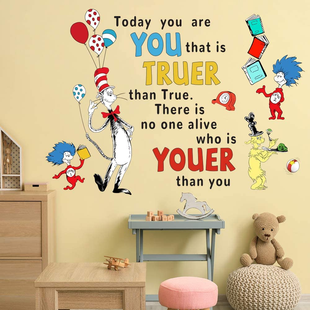 Supzone Dr Seuss Wall Decals Quotes Saying Today You are You Kids Wall Stickers for Baby Nursery Bedroom Playroom Classroom Inspirational Wall Décor