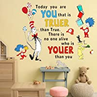 Supzone Dr Seuss Wall Decals Quotes Saying Today You are You Kids Wall Stickers for Baby Nursery Bedroom Playroom…