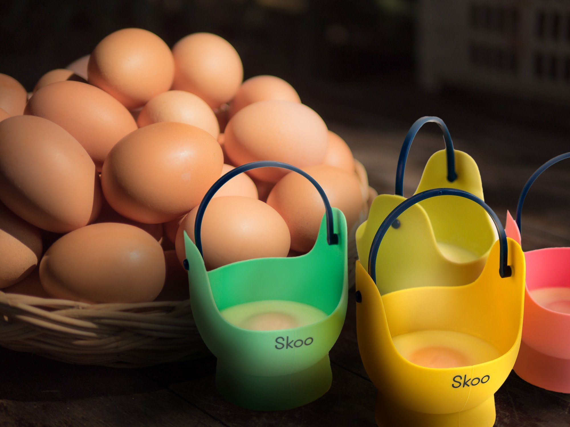 Silicone Egg Poacher Cups + Free Fork - Egg Cooker Set - Perfect Poached Egg Maker - For Stove Top, Microwave and Instant Pot by Skoo (Image #4)
