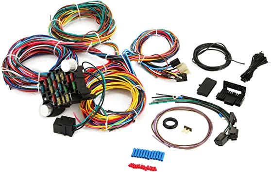Amazon.com: Mophorn 21 Circuit Wiring Harness Kit Long Wires Wiring Harness  21 standard Color Wiring Harness Kit with 21 Circuits 17 Fuses for Chevy  Mopar Hotrods Ford Chrysler Universal: AutomotiveAmazon.com