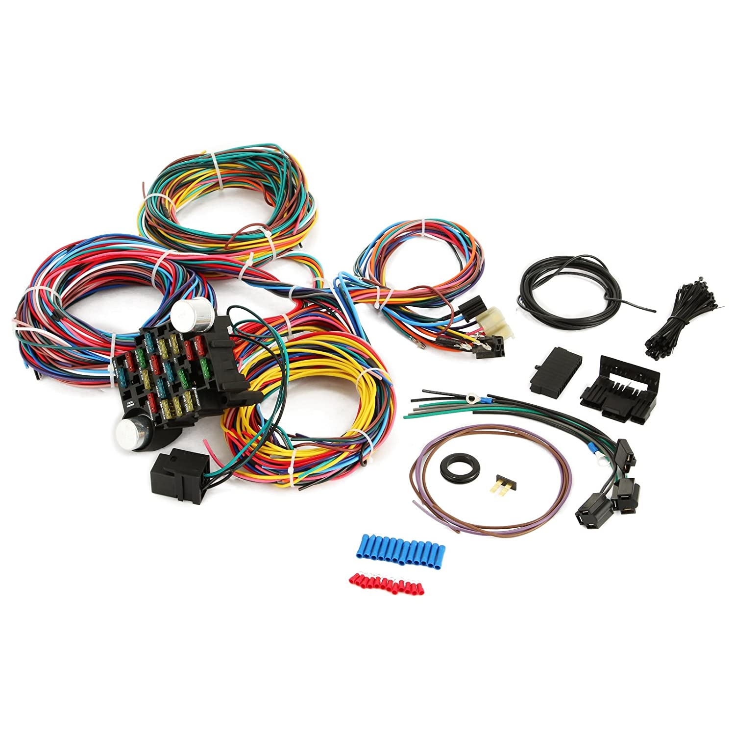 Amazon.com: CNCshop 21 Circuit Wiring Harness 17 Fuses Universal X-long Wires  Wiring 21 standard Color Wiring Harness Kit for Chevy Mopar Hotrods Ford ...