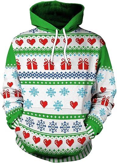 Plus Size Funny Men Women 3D Printed Hoodie Hooded Ugly Sweatshirt Pullover Tops