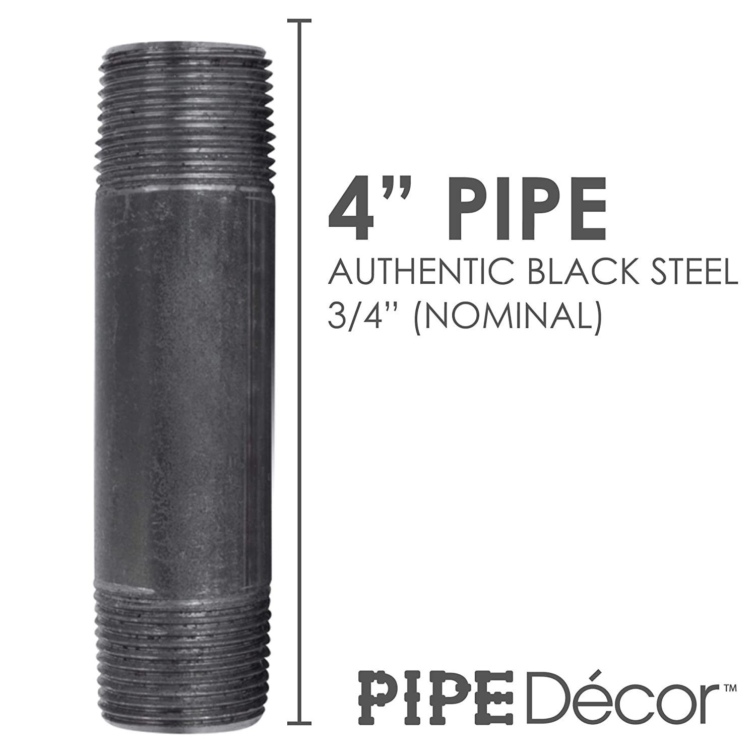 "Build Vintage DIY Furniture 8 Pack Industrial Steel Grey Fits Standard Three Quarter Inch Black Threaded Pipes Nipples and Fittings Pipe Decor 3//4/"" x 1/"" Malleable Cast Iron Pipe Pre Cut"