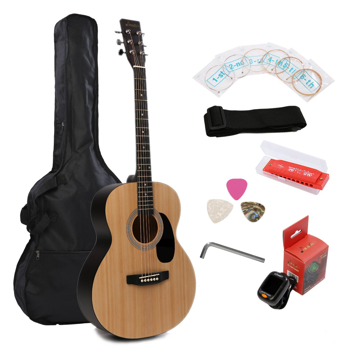 Acoustic Guitar Music Full Size Guitar Starter Kit Dreadnought Beginner Package - Matte Natural by IMusic (Image #1)