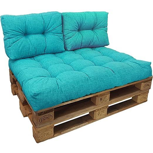 PROHEIM Cojines palés Tino Lounge Ideales para Exteriores - 1 cojín de Asiento 120 x 80 x 15 cm + 2 Cojines de Respaldo 60 x 40 x 10-20 cm, ...