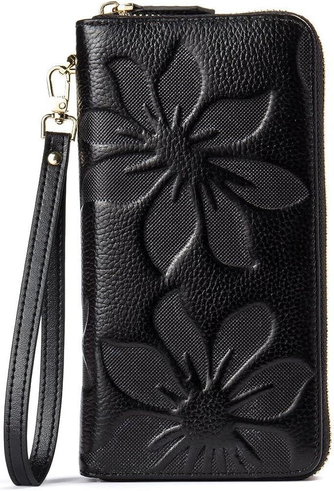 BOSTANTEN Womens Leather Wallets Credit Card Cash Holder Large Capacity Clutch Wristlet Black