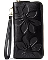 BOSTANTEN Women's Leather Wallets Kapok Pattern Zipper Handbags with Wristlet