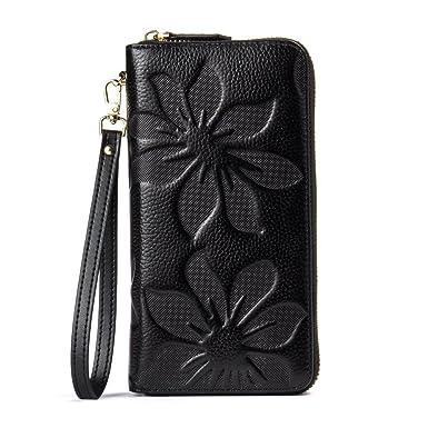 772b7a70cf04a BOSTANTEN Womens Leather Wallets Credit Card Cash Holder Large Capacity  Clutch Wristlet Black