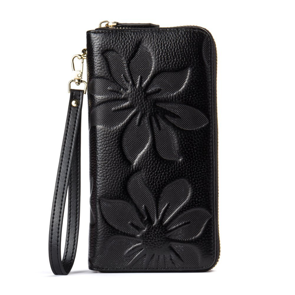 BOSTANTEN Womens Leather Wallets Credit Card Cash Holder Large Capacity Clutch Wristlet Black