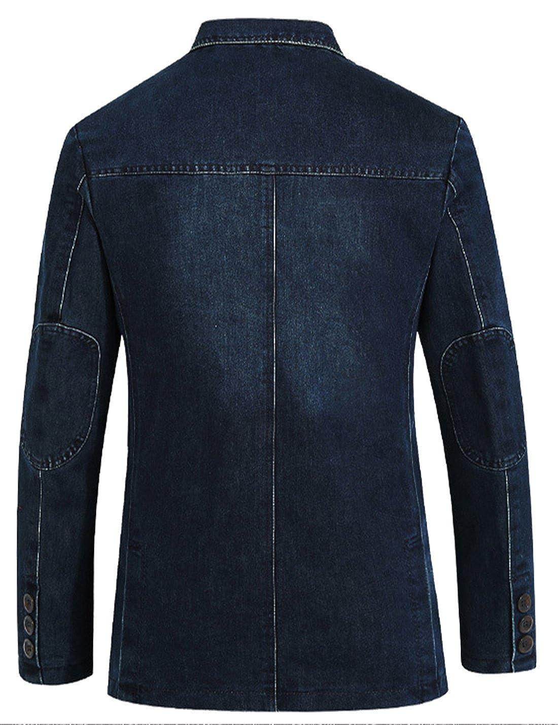 Yeokou Mens Casual Slim Button Down Lapel Collar Denim Blazer Sport Coats