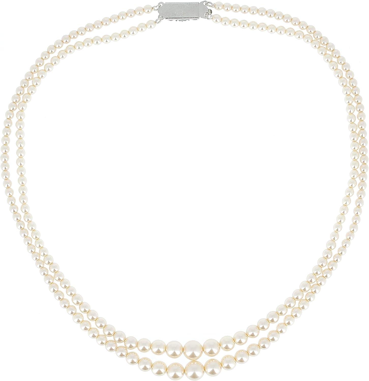 Tata Gisèle Collar Fantasía 2Vueltas en Metal Plateado y Perlas de imitación (Marfil) en caída–45cm–Diámetro Perlas 4/9mm