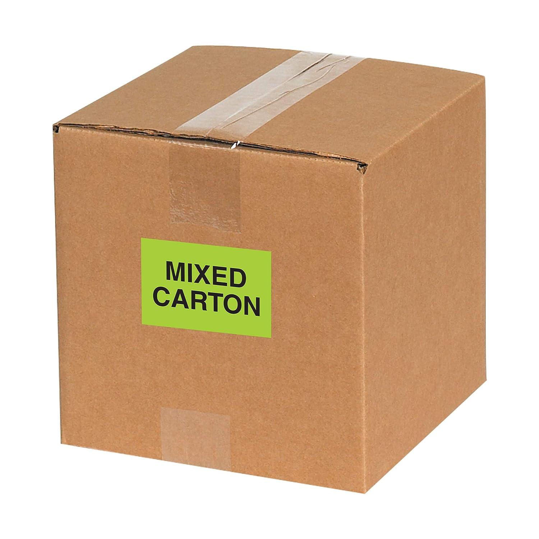 1 Roll Fluorescent Green Mixed Carton Labels//Stickers 2 x 3 500 Labels Per Roll