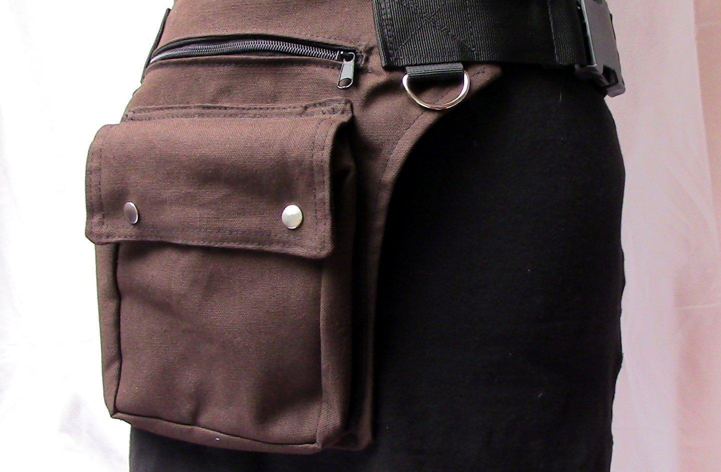 Braune Canvas Hüfttasche mit Schnallenverschluss