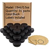 31pcs 0.5oz/15ml Black Aluminum Tin Jar with Screw Lid and Blank Labels