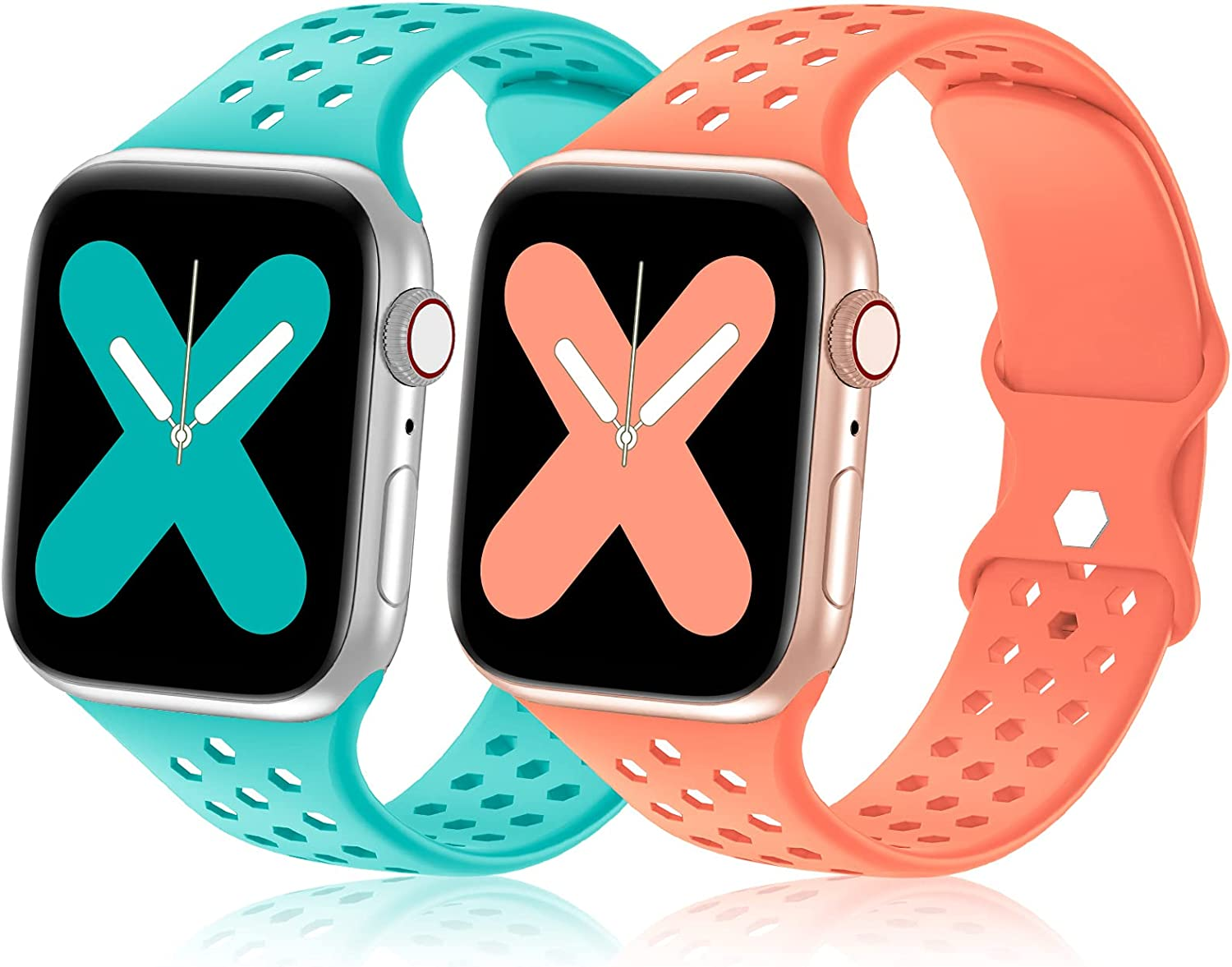 YAXIN Sport Bands 2 Pack Compatible with Apple Watch 38mm 40mm 42mm 44mm , Soft Silicone Sport Replacement Strap Compatible for iWatch Series SE 6 5 4 3 2 1, Breathable Watch bands for Women Men