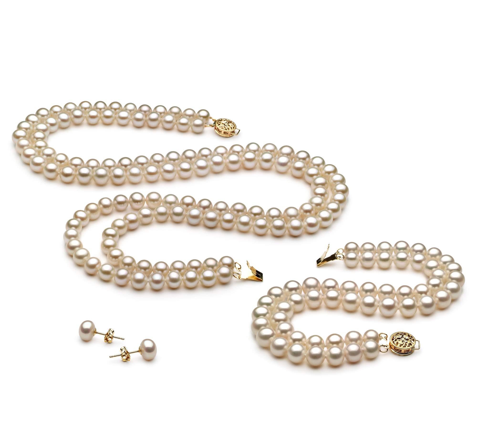 Liska White 6-7mm Double Strand AA Quality Freshwater Cultured Pearl Set for Women-16 in Chocker Length
