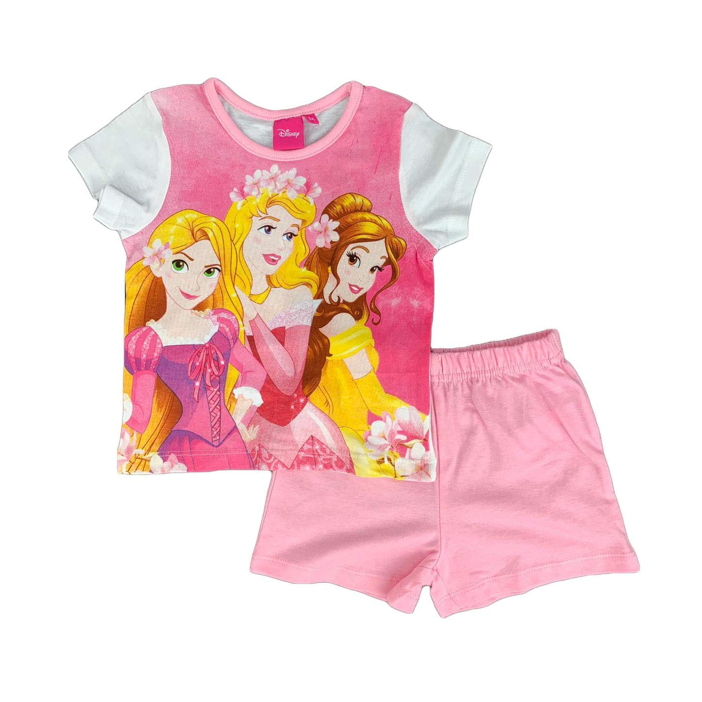 Pigiama Bambina Disney Principesse T-Shirt e Pantaloncino in Cotone Stampa 1022