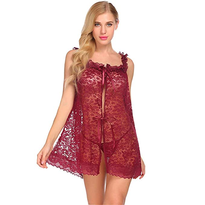 4c81986b457 Image Unavailable. Image not available for. Color: Lace Teddy Babydoll, Women  Lace Sleepwear Chemises V-Neck Full Slip Babydoll Nightgown Lingerie