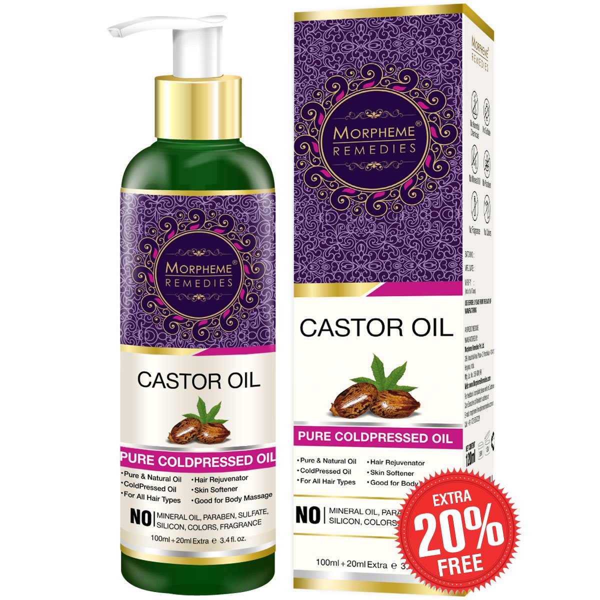 Morpheme Remedies Pure Cold Pressed Castor Oil for Hair and Skin, 120ml product image