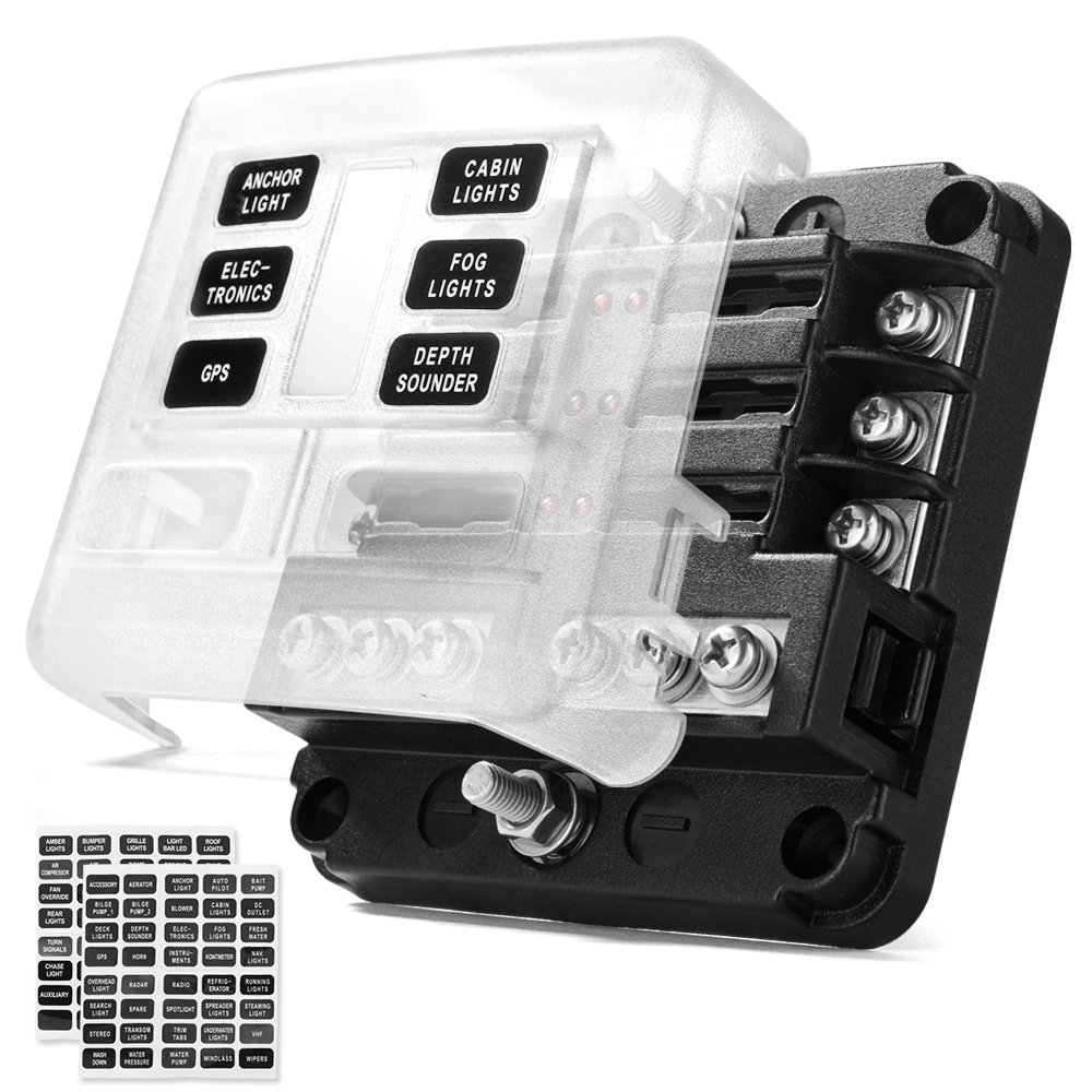 MICTUNING MIC-FB-201 Circuit Blade, 6-Way Fuse Box Block Holder with LED  Indicator Waterproof Durable Protection Cover Sticker Lable for Automotive
