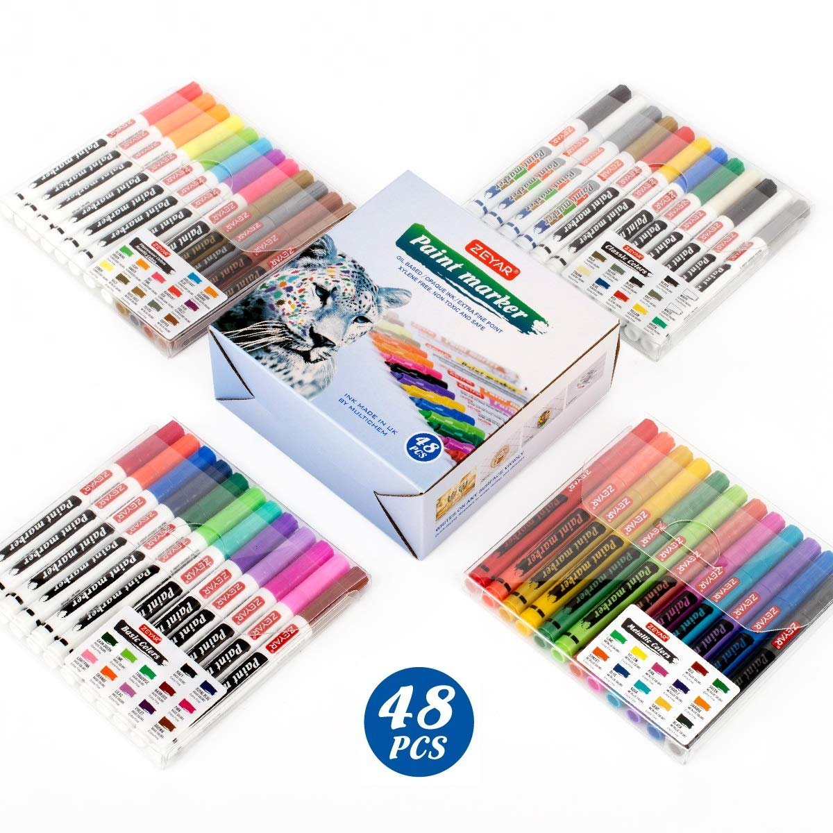 ZEYAR Paint Markers, Expert of Rock Painting, Extra Fine Point, Oil-Based, Full Colors range, 48 PCS, Permanent&Waterproof Ink, Works on Rock, Wood, Glass, Metal and Ceramic and Almost All Surfaces by ZEYAR
