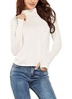 c3024a4398eb2 Haut Femme Printemps Automne Basic T-Shirts Elégante Décontracté Fashion  Top Uni Manche Manches Longues