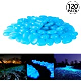 PAMIYO 120 pcs Piedras Luminosas Artificiales Piedras Fluorescentes Decorativas Exteriores Brilla en Oscuridad para Jardín Pecera