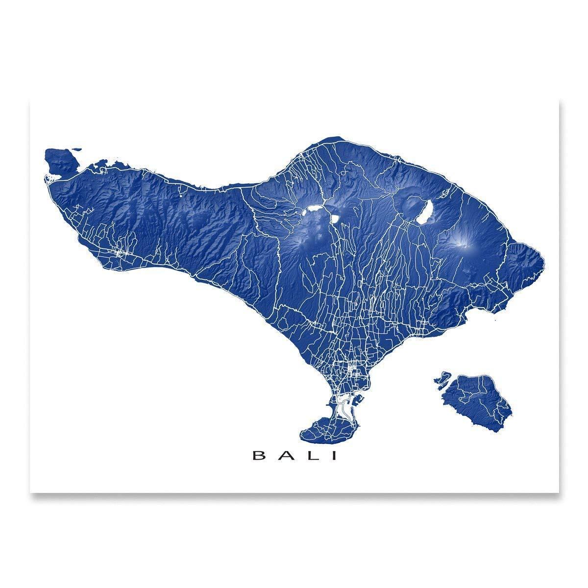 Amazon.com: Bali Map Print, Indonesia Island Landscape Art ...