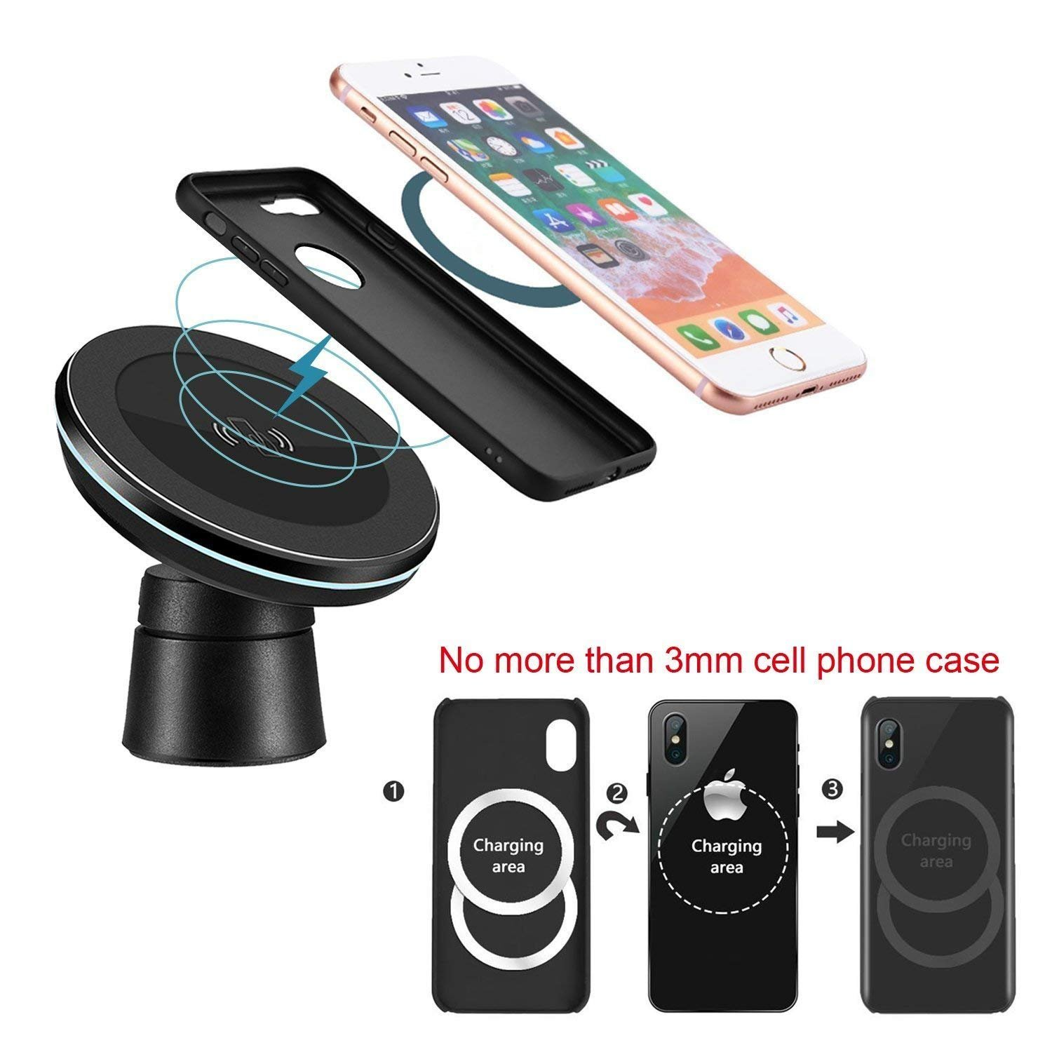 Note 8 S8 Wireless Charging Compatible iPhone Xs Max//XR//X// 8//8 Plus Spedal 4351482553 Plus Fast Wireless Car Charger Magnetic Charging Pad Car Mount Air Vent Phone Holder Compatible Samsung Galaxy S9