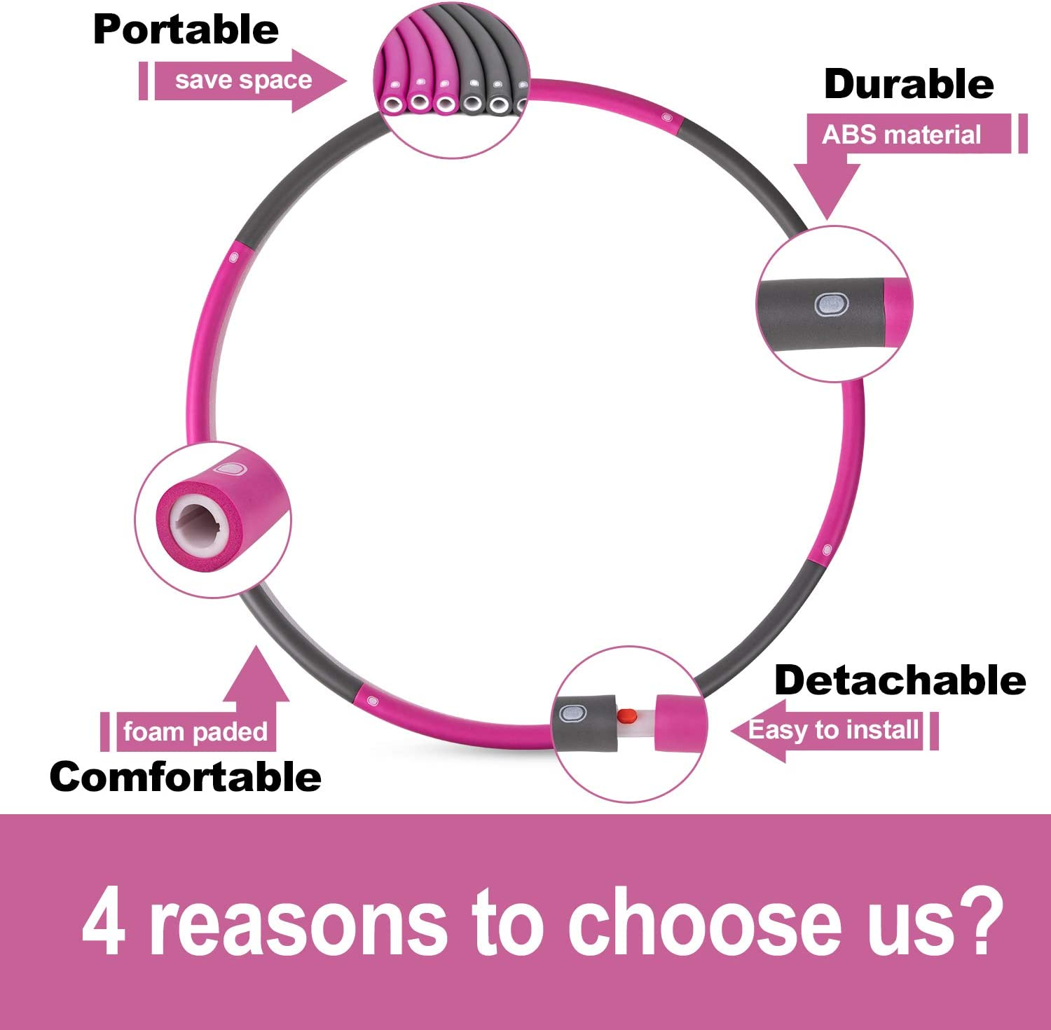 Fitnesss Hoop for Exercise-2lb-8 Sections Detachable Design-Professional Adults Liberry Exercise Hoop for Adults