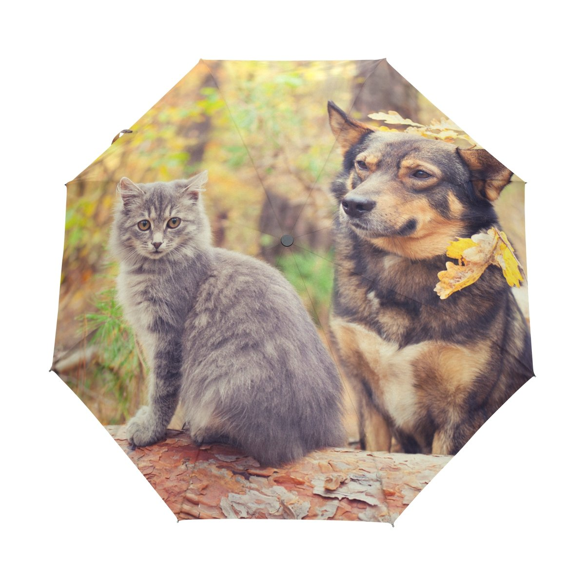 Senya Saobao防風と防雨トラベル傘with自動開いて閉じ折りたたみ犬と猫Best Friends座っているTogetherポータブル折りたたみ式太陽雨傘 B07FLYPKLG