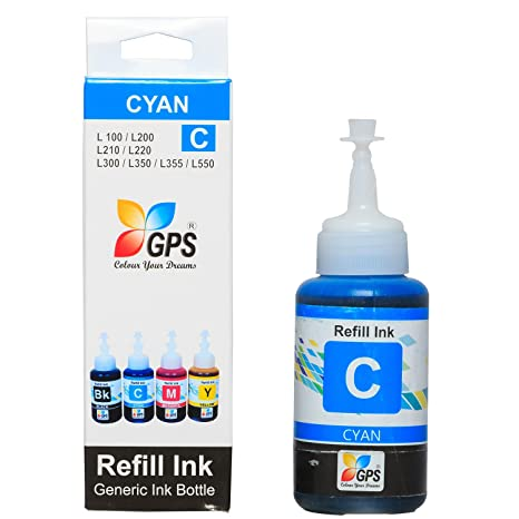 GPS Compatible Ink for Epson Printer L200/L210/L300/L350/L355/L550 [ Cyan Colors ] Compatible 70gms. 1 Bottles. Ink Tank Printers at amazon