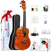 AKLOT Concert Ukulele Solid Mahogany Ukelele 23 inch Beginners Starter Kit with Free Online Courses and Ukulele Accessories (AKC23)